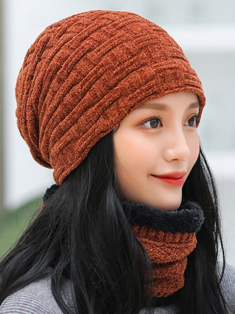 Winter Daytime Heavyweight Casual Hat With Scarf
