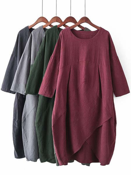 Asymmetrical Women Daily 3/4 Sleeve Pockets Solid Casual Dress