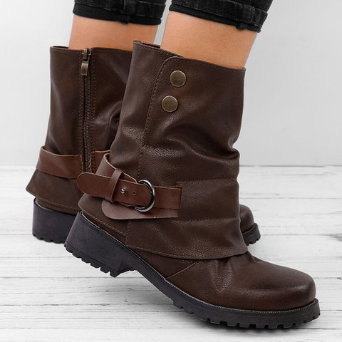 Women Zipper Booties Classic Comfort Plus Size Shoes