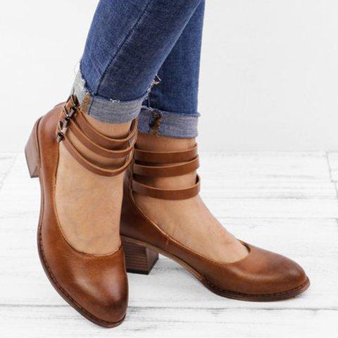 Casual  Brass Buckle Low Heel Sandals Plus Size Back Zipper Sandals