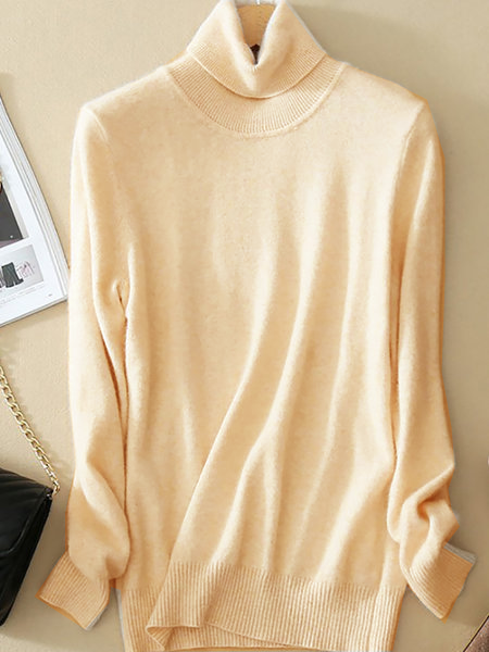 Turtleneck Casual Wool Blend Sweaters