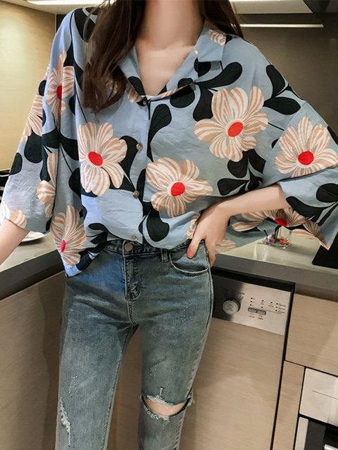 Printed Casual Floral Plus Size Blouse