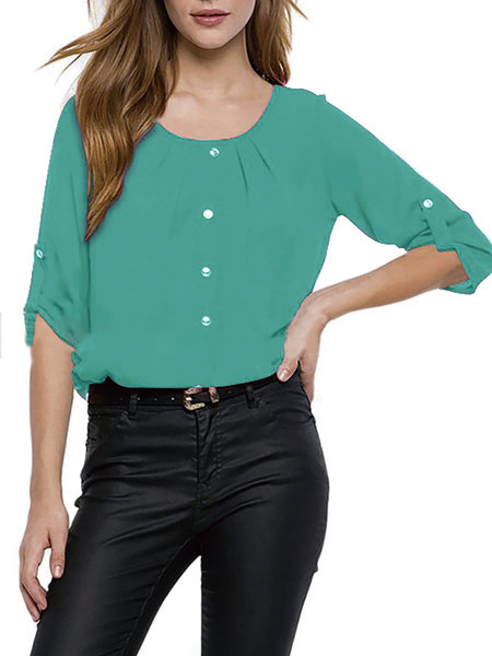 Solid Buttoned Half Sleeve Crew Neck Blouse
