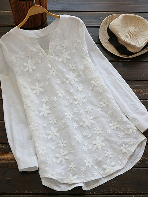 Women Linen Floral Lace Embroidery Long Sleeve Loose Baggy Tops Shirt Blouse