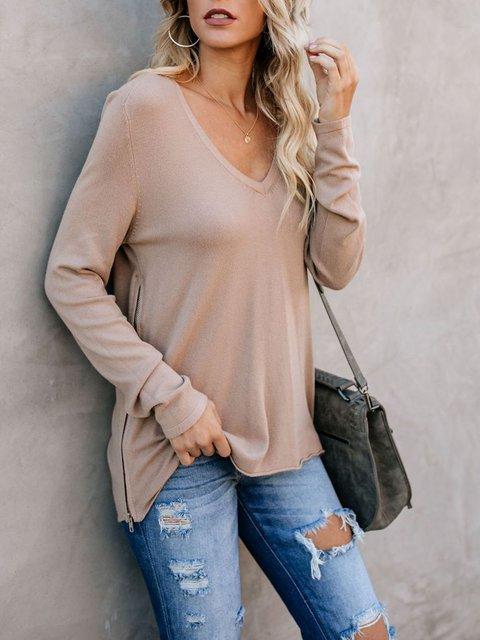Long Sleeve Vintage Zipper Cotton T-Shirts