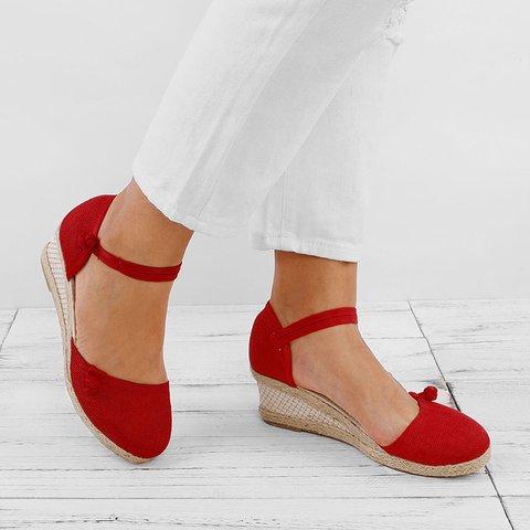 Linen Button Strap Wedge Heel Sandals
