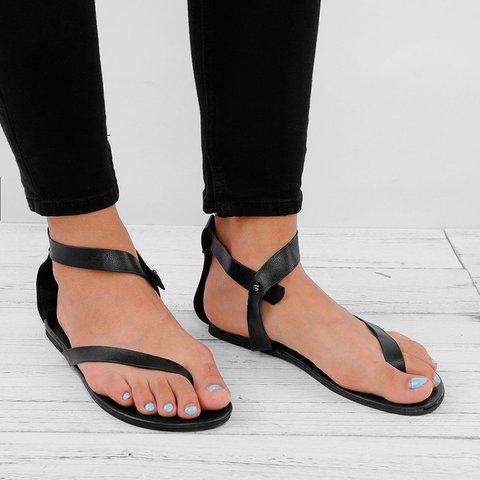688976cb3 Women Plus Size Flip-flops PU Sandals Ankle Wrap Flat Sandals ...