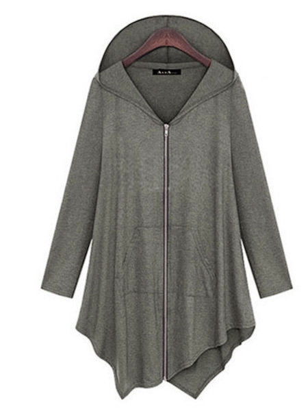 Cotton Zipper Plus Size Asymmetric Hoodie Hoody