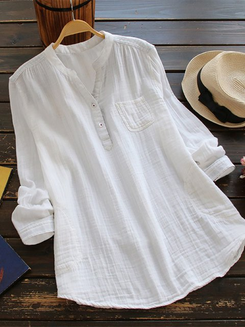 Women Fashion Long Sleeve T-Shirt V Neck Linen Casual Blouse Tops S-5XL