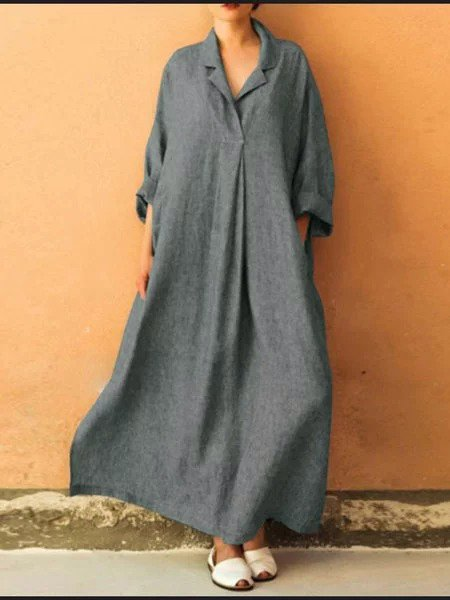 Women  Long Sleeve Plus Size Dress