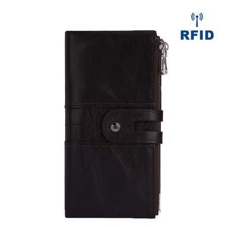 【BFCM】Women Men Genuine Leather Pure Color Vintage Card Holder Multi-slots Long Wallet Purse