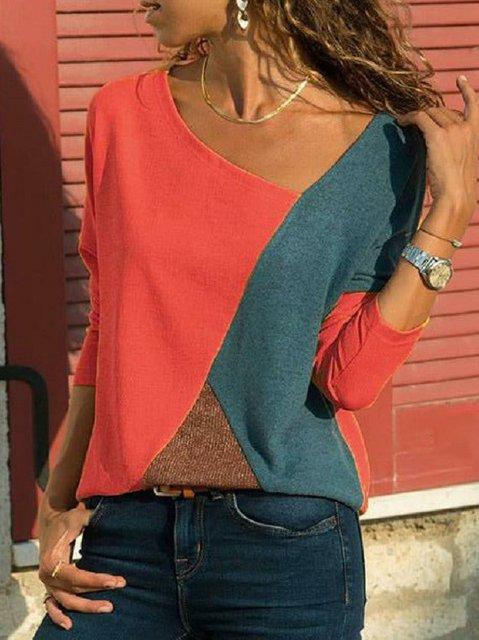 Asymmetric Neck Patchwork Contrast Stitching T-Shirt