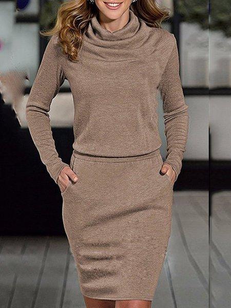Cowl Neck  Sheath Women Daily Long Sleeve Casual Fall Dress