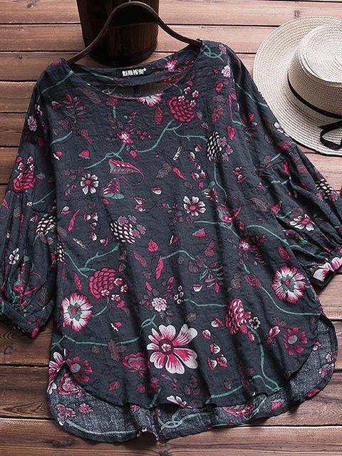 Women Vintage Floral Print 3/4 Sleeve Asymmetric Hem Blouse