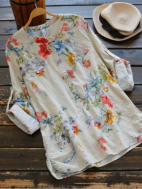 Vintage Floral Print Long Sleeve Skirts Blouses Plus Size