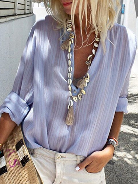Casual Stand Collar Striped Long Sleeve Shirts & Tops