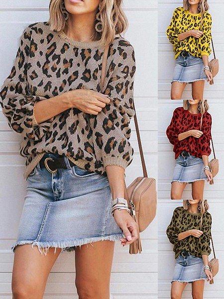 Vintage Crew Neck Leopard Print Long Sleeve Sweaters