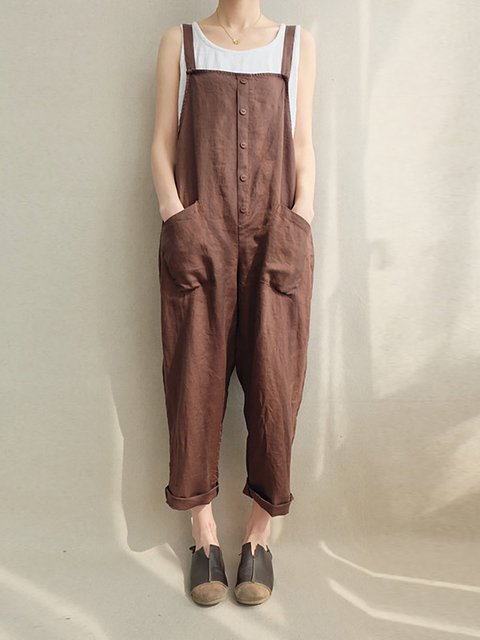 Pockets Solid Cotton Jumpsuits