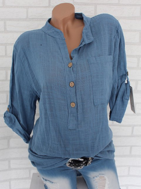 Shirt Collar Casual Long Sleeve Blouse