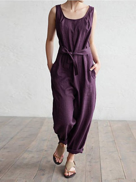Cotton Sleeveless Casual Pockets Jumpsuits