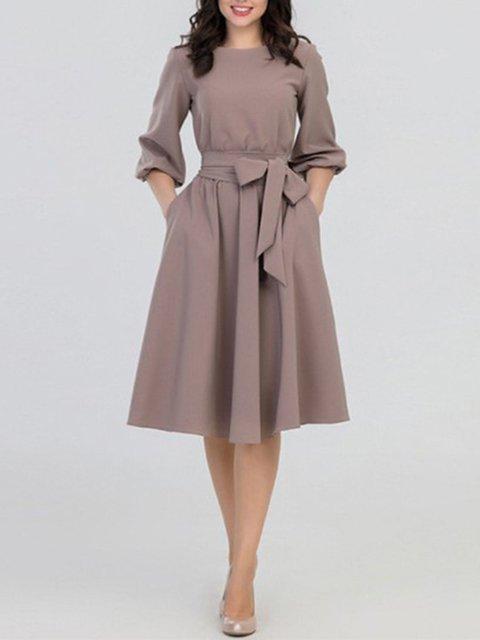 Crew Neck Women Spring Dresses A-Line Daytime Dresses