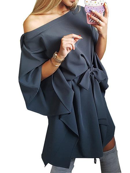 One Shoulder Blue A-line Women Daily Short Sleeve Paneled Summer Dress