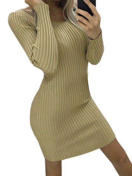 Bodycon Women Daily Long Sleeve Elegant Paneled Solid Elegant Dress