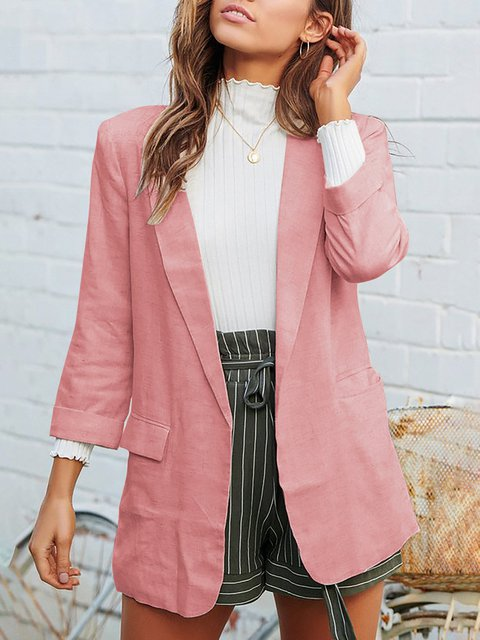 Lapel Cotton-Blend Vintage Long Sleeve Blazers