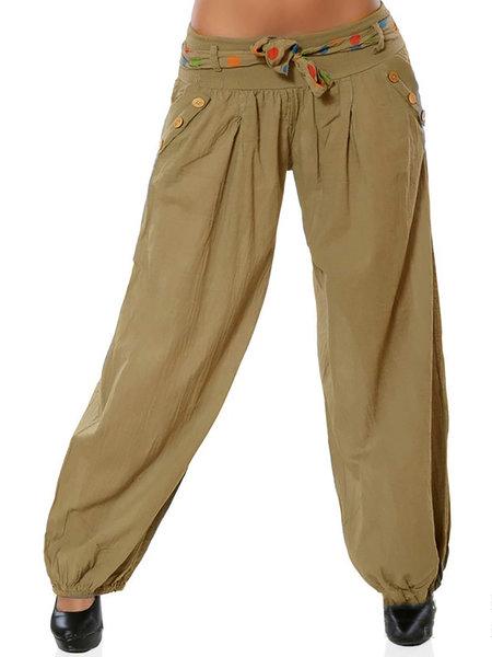 Cotton Casual Pockets Plus Size Solid Pants