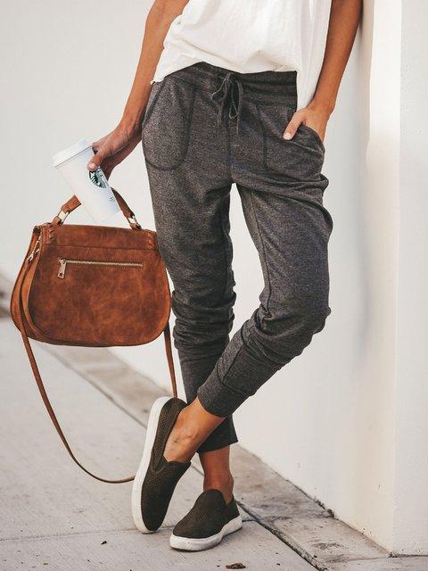 4 Colors Plain Simple & Basic All Season Natural Pockets Pants