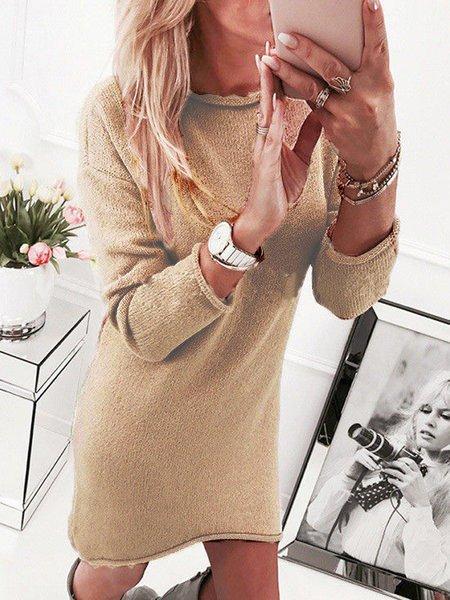 Women Daily Long Sleeve Basic Asymmetric Plain Spring Dress