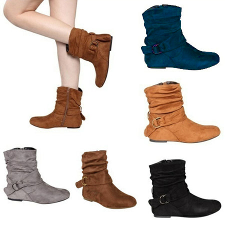 Flat Heel Suede Buckle Strap Fur Lined Boots