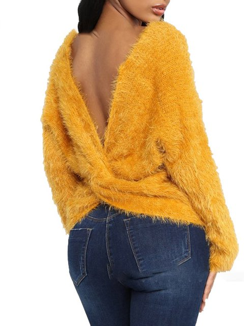 Cozy Sexy Solid Asymmetric Back-Cross Lady's Sweaters