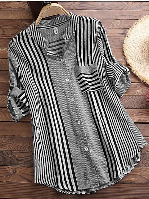 Women Patchwork Stripe Print Stand Collar Irregular Casual Shirts Plus Size