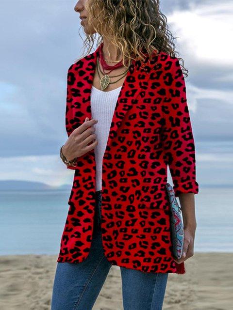 S-5XL Lapel Leopard-Print Paneled Elegant Blazers Coats