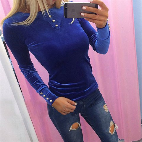 Women Velvet Button T-shirt