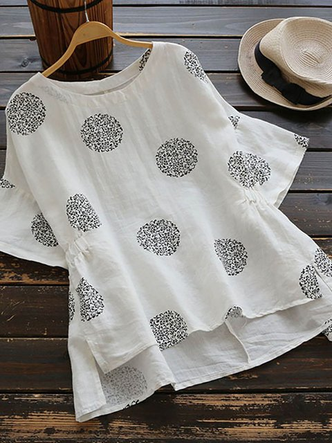 Women Polka Dots Short Sleeve O-neck Vintage Shirts
