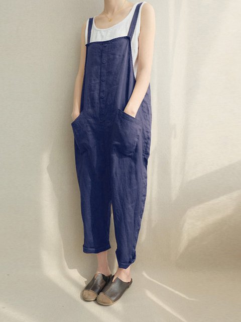 Casual Sleeveless Pockets Plus Size Jumpsuit
