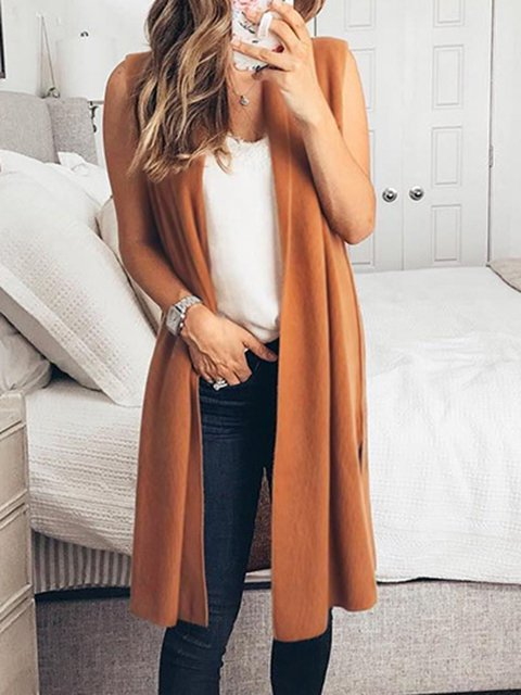 4 Colors Solid Sleeveless 2019 Spring Vests Cardigans