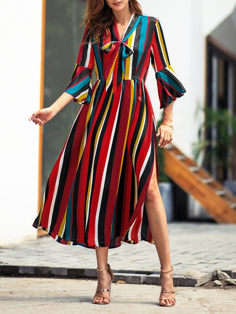 fe6eac698b JustFashionNow Sundress Casual Dresses Holiday A-Line V Neck Bell ...