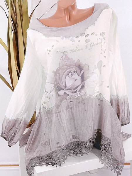 Long Sleeve Printed Floral Crew Neck Elegant Lace Cotton Shirts  Blouse