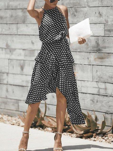Halter Polka Dots Irregular Dress