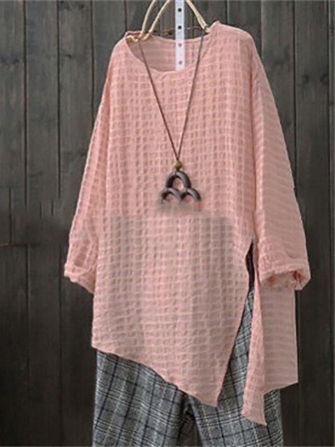 Asymmetric Casual Shift Elegant Solid Long Sleeve Shirt