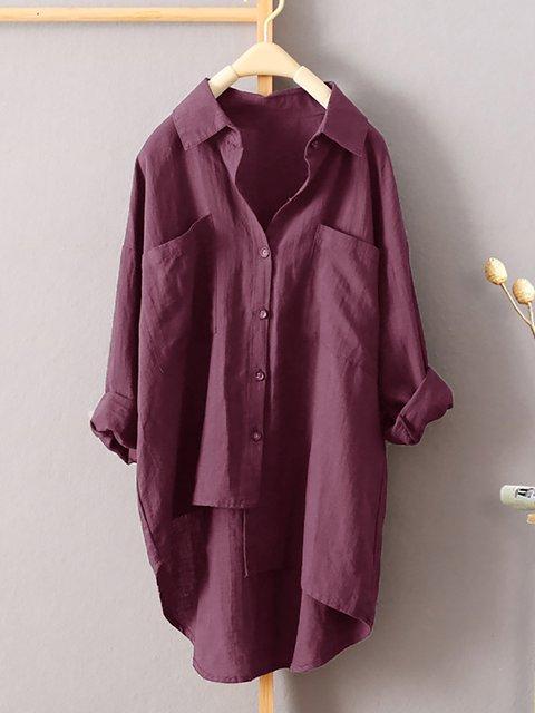 Women Causal Linen Batwing Solid Shirt Collar Irregular Tops