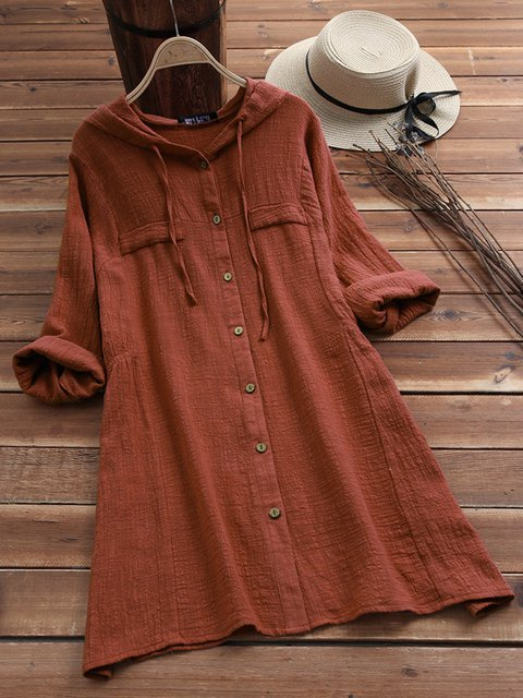 Hoodie Women Casual Dresses Shift Cotton-Blend Pockets Dresses