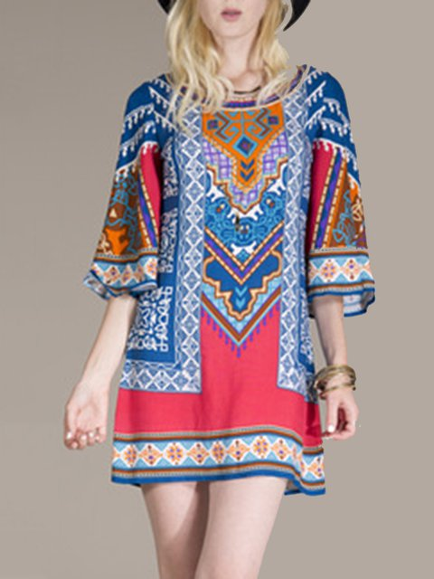 Folkways Printed/Dyed  Flare Sleeve  A-line Dresses