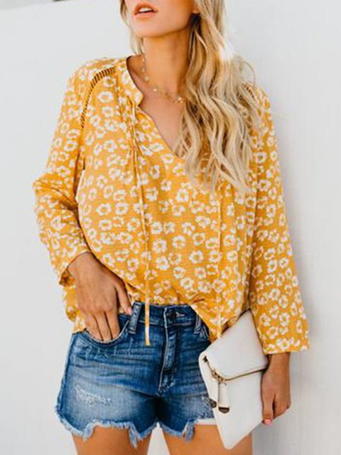 3 Colors V Neck Paneled Floral-Printed 2019 Lady's Blouses