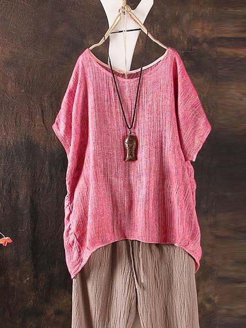 Women Summer Casual Short Sleeve Tops Plus Size Loose T-shirt