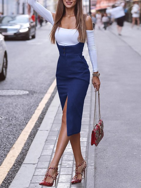 Slit Sexy Solid Skirts