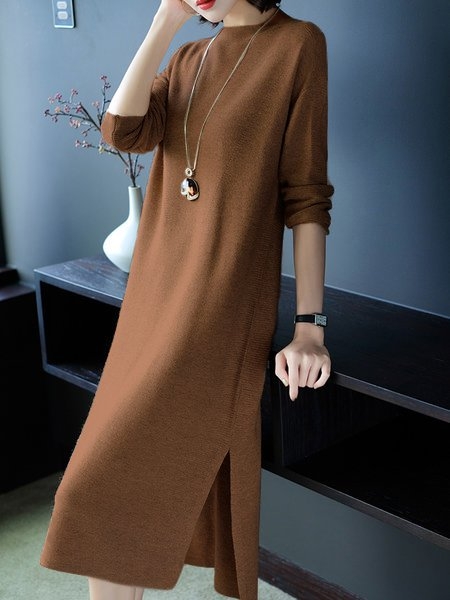 Bateau/boat neck  Shift Women Daytime Long Sleeve Casual Knitted Slit Solid Casual Dress